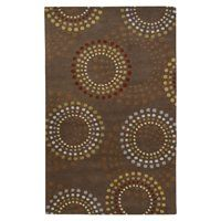 Ebern Designs Dewald Abstract Handmade Tufted Wool Chocolate/Gold Area Rug Rug Size: Rectangle x