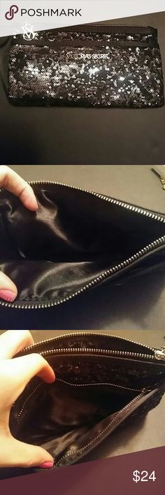NWOT VS Limited Edition Sequin Clutch Super chic black sequin clutch in perfect condition, double compartments in this bad boy, great for a night out! *****NOTE: I have a smaller, very similar VS coin purse in my listings as well! Victoria's Secret Bags Clutches & Wristlets