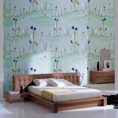 Minimal Meadow. #wallpaper #interiors #interiordesign #surfacepatterndesign #printandpattern #art #floral #meadow #bedroom