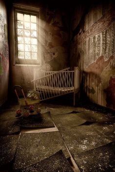 Abandoned Buildings by Matthias Haker... I really like this one the crib and stroller it an erie feel