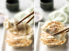 Gyoza (Japanese Dumplings) - A traditional Japanese recipe! Plus a VIDEO to learn how to wrap them! Japanese Gyoza, Japanese Dumplings, Japanese Dishes, Japanese Food, Traditional Japanese, Japanese Recipes, Recipe For Gyoza, Recipetin Eats, My Best Recipe