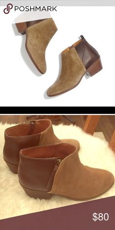 Madewell Charley two toned ankle booties. So cute and stylish. I get TONS of compliments. Gently worn, so there are a couple marks on suede toe and scuffs on leather. Overall in great condition though! Madewell Shoes Ankle Boots & Booties