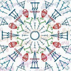 튤립 수세미 (도안첨부) : 네이버 블로그 Crochet Blocks, Crochet Squares, Crochet Motif, Crochet Doilies, Free Crochet, Knit Crochet, Crochet Stitches Patterns, Stitch Patterns, Sewing Patterns