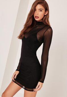 Missguided - Petite High Neck Mesh Overlay Mini Dress Black