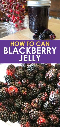 Blackberry Jelly - Blackberries - Ideas of Blackberries - Canning blackberry jelly. Learn how to make and can blackberry jelly from fresh blackberries. This blackberry jelly recipe is made with sugar and without pectin or Sure Jell. Jelly Recipes, Fruit Recipes, Drink Recipes, Delicious Recipes, Sweet Recipes, Canning Blackberries, Recipes With Blackberries, Blueberries, Kitchens