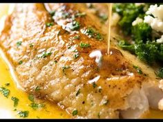 Lemon Butter Sauce being poured over crispy pan fried fish on a white plate. Lemon Butter Sauce being poured over crispy pan fried fish on a white plate. Fish Recipes, Seafood Recipes, Dinner Recipes, Cooking Recipes, Cooking Fish, Cooking Games, Cooking Turkey, Brown Butter Sauce, Lemon Butter Sauce