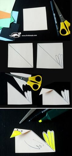 How to make easy paper birds Bird Crafts, Animal Crafts, Craft Stick Crafts, Spring Crafts For Kids, Summer Crafts, Diy Crafts For Kids, Paper Birds, Paper Hearts, Fun Activities For Kids