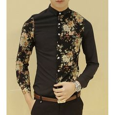 Korean Buton Down Collar Tiny Floral Splicing Long Sleeves Fitted Polyester Shirt For Men, BLACK, 185 in Shirts | DressLily.com