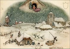 Anton Pieck's Mother Holle... he made a cottage in d'Efteling featuring the top part of this painting