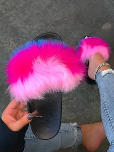 Natural Hair Twists, Natural Hair Styles, Cute Slides, Faux Fur Slides, Pink Snake, Size Model, Black Sandals, How To Apply, How To Wear