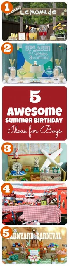 Summer Birthday Party Theme Ideas for Boys http://spaceshipsandlaserbeams.com/blog/2013/07/party-central/summer-birthday-party-theme-ideas-for-boys