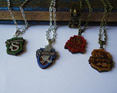 Handmade Wood Harry Potter Houses Necklace by TheFreyjaShop Bijoux Harry Potter, Harry Potter Houses, Hogwarts, Jewels, Unique Jewelry, Handmade Gifts, Bracelets, Earrings, Etsy