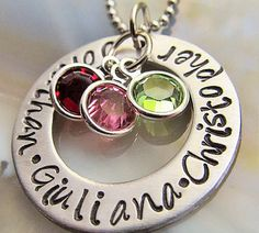 Personalized Mothers Necklace Mothers Day Gift Customized Washer Necklace Birthstone Necklace Gift For Her Valentines Gift Valentines Day
