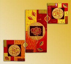 Quadro moderno composizione 3 tele dipinte a mano, by SikanyArt, 150,00 € su misshobby.com
