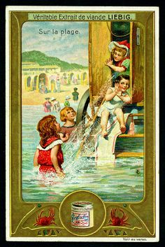 1907.  Sur la plage (On the beach:  Bathing machine) trading card issued by Liebig Extract of Beef Company.  S913.