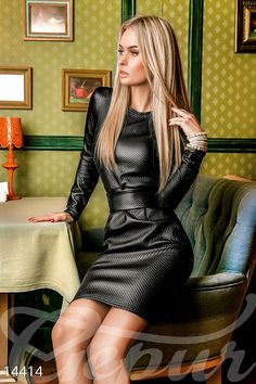 Belted long sleeve black leather dress