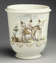 Jar, ca. 1750  Italian; Capodimonte  Soft-paste porcelain. Painted with scene of three clowns in a landscape.