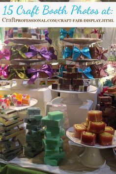 I adore the handmade soap display. Click through for 14 more great craft booth photos http://www.craftprofessional.com/craft-fair-display.html