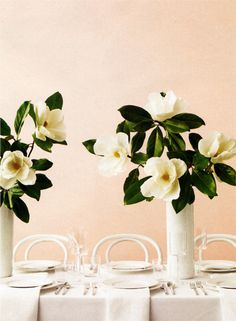 Magnolia Wedding Accents - how to make paper magnolias from Martha Stewart. Fantastic money saving alternative to add as fillers for real flowers