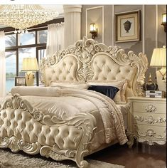 King Bedroom Set Description : The skillful hands of great Artisans Experts of a secular culture in the furniture art, gave to the bedroom collection a natural Home Decor Bedroom, Elegant Bedroom, Victorian Bedroom, Luxurious Bedrooms, King Bedroom Sets, Bed Styling, Bedroom Furniture Sets, Classic Bedroom, Bedroom Vintage