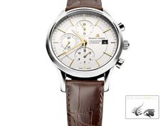 Maurice Lacroix Les Classiques Chronograph Watch, Stainless steel, Whi | Iguana Sell Maurice Lacroix, Stainless Steel Case, Jewels, Watches, Leather, Accessories, Classic, Wrist Watches, Jewelery