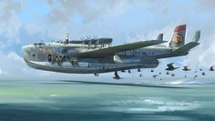 The Zephyr Picture  (2d, illustration, turrets, seaplane, transport)