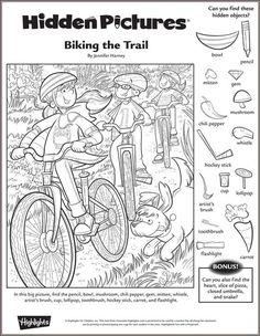 Biking the Trail Hidden Picture Puzzle