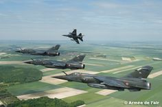 Formation of French Armée de l'Air Dassault Mirage The aircraft retired from the fleet in June after 40 years loyal service. The last unit flying the aircraft is a reconnaissance unit equipped with Military Helicopter, Military Jets, Military Aircraft, Mirage F1, Photo Avion, Dassault Aviation, Belle France, Flying Boat, Aircraft Pictures
