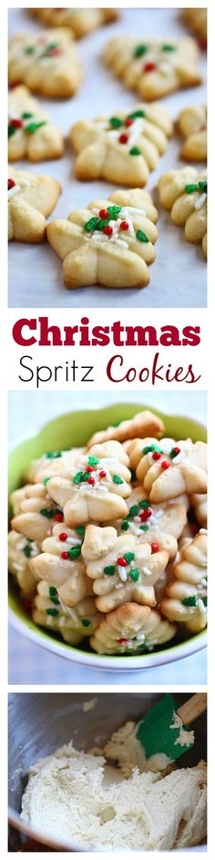 Spritz Cookies – BEST, buttery, melt-in-your-mouth crumbliest Christmas Spritz cookies ever! Super easy recipe that anyone can bake this holiday season