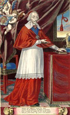 Cardinal Richelieu. - 8) MARECHAL-DUC DE LA MEILLERAYE: Il se trouve donc une différence d'âge de 14 ou 15 ans entre les 2 cousins germains. Cette différence est très grande, surtout dans la jeunesse), ne vit en lui qu'une espèce de fils d'adoption, qu'un neveu. Il le traita comme tel, et aussi les écrivains du temps parlent du faible que le despote couvert de la pourpre romaine avait pour son jeune parent.
