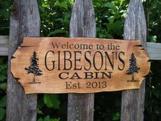 Cabin Sign Last Name Personalized Wooden Carved Rustic Hunting Camp Outdoor Custom Engraved Plaque Tree Image Housewarming Gift Pine 314P on Etsy, $49.95