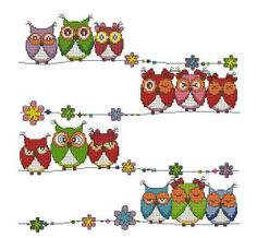 Cute owls-Cross stitch pattern pdf format