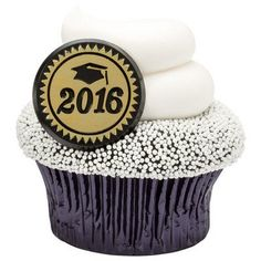 2016 Gold Foil Graduation Party Cupcake Rings 24Pack >>> Want additional info? Click on the image.