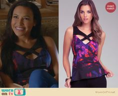 Santana's purple floral top with crossover straps on Glee. Outfit Details: http://wornontv.net/23434 #Glee