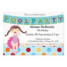 Pool Party (Girl) Personalized Announcement