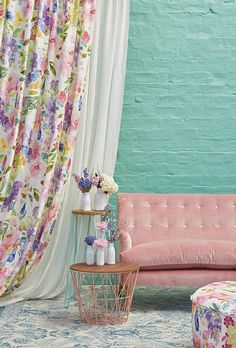 Wisteria Multi by bluebellgray available at James Dunlop Textiles Bohemian Living Rooms, Home Living Room, Living Room Decor, Bedroom Decor, Curtains Living, Curtains With Blinds, Bluebellgray, Room Wall Colors, Curtain Designs