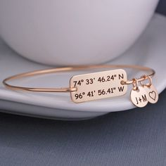 Gold Latitude Longitude Bracelet, Anniversary Gift for Wife, Custom Coordinate Jewelry, Personalized Location Jewelry Birthday Gift for Wife by georgiedesigns on Etsy https://www.etsy.com/listing/225851655/gold-latitude-longitude-bracelet