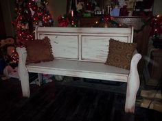 Upcycled furniture. sleigh bed bench, painted furniture, repurposed headboard, Shabby Chic. From The Mad Hatter's House