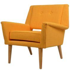 Fauteuil design en toile jaune Brando