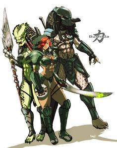 Bushida/Predator mashup by Sketchjitsu Alien Character, Cyberpunk Character, Character Art, Character Design, Predator Movie, Predator Alien, Predator Cosplay, Aliens Colonial Marines, Anime Galaxy