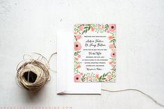DIY Floral Watercolor Wedding Invitation Set
