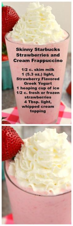 Under 200 calories, this Strawberries and Cream Frappuccino recipe is amazing! This Copycat Strawberry Frappuccino Starbucks recipe tastes just like it! Smoothie Drinks, Healthy Smoothies, Healthy Drinks, Smoothie Recipes, Low Calorie Drinks, Smoothie Detox, Yummy Drinks, Delicious Desserts, Dessert Recipes