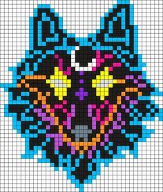 Kandi Patterns for Kandi Cuffs - Animals Pony Bead Patterns Pixel Art Templates, Perler Bead Templates, Diy Perler Beads, Perler Bead Art, Kandi Patterns, Perler Patterns, Beading Patterns, Wolf Craft, Modele Pixel Art