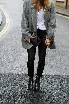 ISABEL MARANT        grey oversized blazer (similar here & here) SET      white v-neck tee MANSUR GAVRIEL        black leather clutch