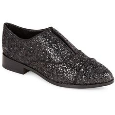 Saks Fifth Avenue Felix Sparkle Loafers ($70) ❤ liked on Polyvore featuring shoes, loafers, black, kohl shoes, black loafer shoes, loafer shoes, cap toe shoes and sparkly shoes