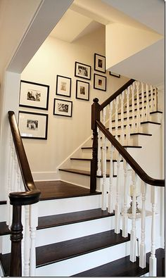 A Foursquare House Staircase. Ours should look like this. Would love to remove the carpet and paint so it is restored to its original beauty.