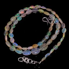 "43CRTS MIX SIZE 18"" ETHIOPIAN OPAL BEAUTIFUL PLAIN OVAL BEADS NECKLACE OBI1169 #OPALBEADSINDIA"