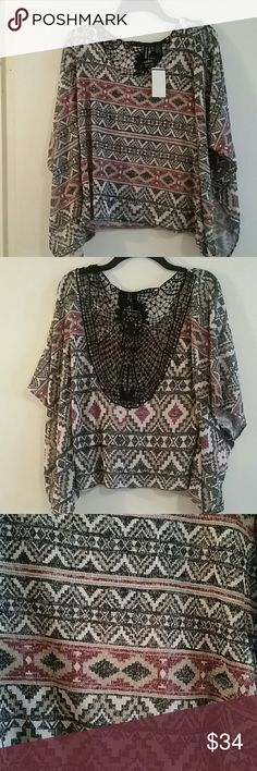 *WEEKEND SALE* *NWT* Tribal design poncho top *NWT* Tribal design poncho top, size XSmall. Tops