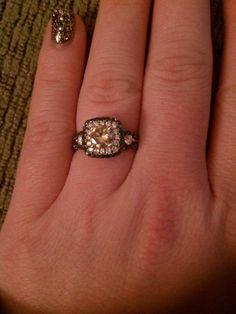 Black, White and Chocolate Diamond Engagement Ring :  wedding black brown engagement jewelry ring white IMG 20130106 020207