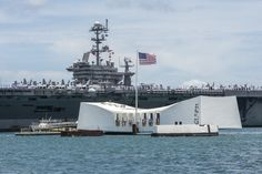 https://flic.kr/p/HJ6kPn | 160628-N-YW024-148 | PEARL HARBOR (June 29, 2016) USS John C. Stennis (CVN 74) passes the USS Arizona Memorial as the Nimitz class aircraft carrier arrives at Joint Base Pearl Harbor-Hickam for Rim of the Pacific 2016. Twenty-six nations, more than 40 ships and submarines, more than 200 aircraft and 25,000 personnel are participating in RIMPAC from June 30 to Aug. 4, in and around the Hawaiian Islands and Southern California. The world's largest international…